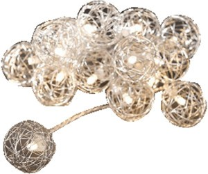 LED Dekolichterkette 10flg Metallbälle weiß